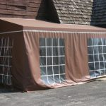 Brown Awning with Curtains
