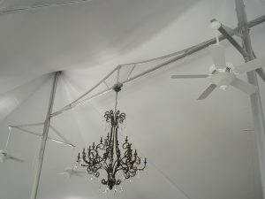 Kansas City Tension Tent (48x88), Wedding and Event Venue, Interior Fans and Lighting