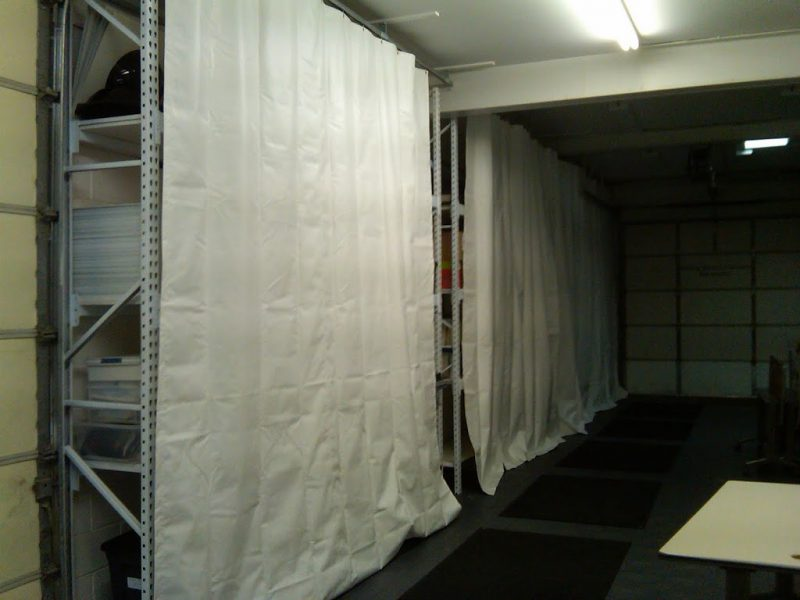 Example of interior sliding track curtains