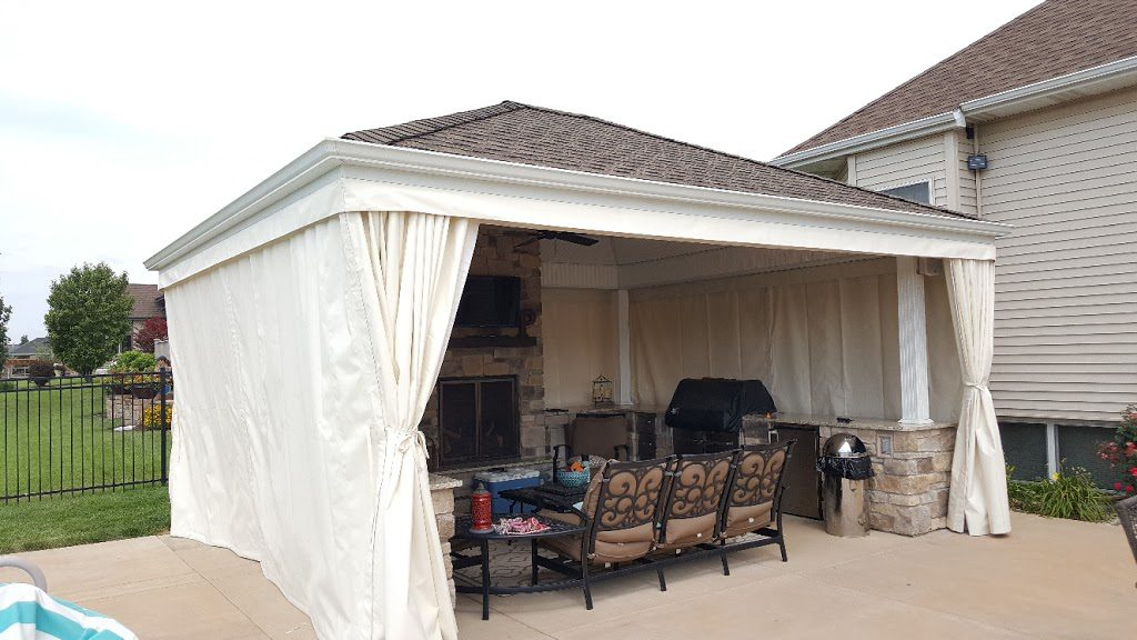 ... Patio 500 Fabric And Tie Backs. We Can Make Anytype Of Fabric Enclosure  To Meet Your Needs. Waterproof And Heavy Duty, Long Lasting And Easy To Use.
