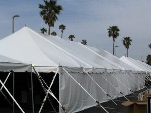 Pole Tent, Exterior, with Side Curtains
