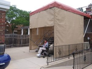 Custom cover created to protect an ADA accessible ramp and elevator system on a home in Chicago.