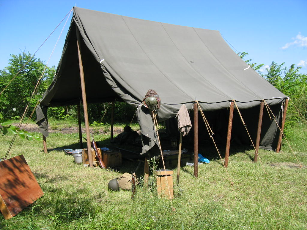 Armbruster World War II Large Wall Tent. Our tents are secure and can withstand rainstorms.