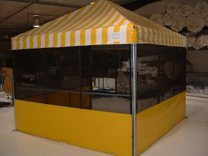 Concession Tent for Illinois State Fair with rigid frame sides