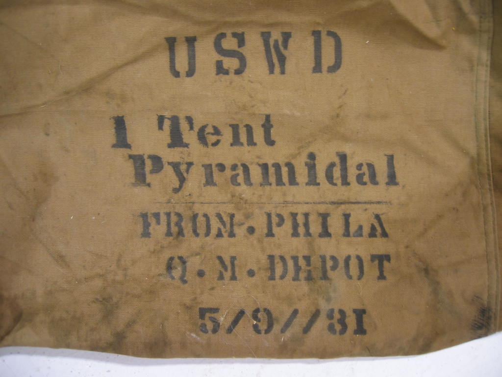 Detail Showing Stencil on an Original Canvas USMC Khaki Original Pyramidal World War II Tent