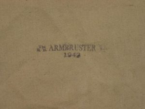 """The World War II (WWII) shelter halves Armbruster has in its factory archives include wartime stamps with """"R.H. Armbruster company"""" and dated at 1942."""