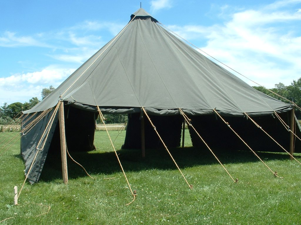 Armbruster's World War II (WWII) 1934 Pyramidal Tent, (Tent, Fire-Resistant, Pyramidal, M-1934, Olive Drab, Stock No. 24-T-320), Sides Open