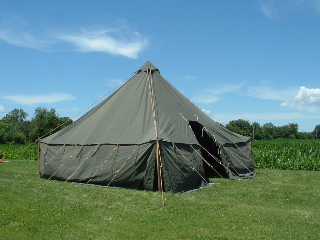 Armbruster's World War II (WWII) 1934 Pyramidal Tent, (Tent, Fire-Resistant, Pyramidal, M-1934, Olive Drab, Stock No. 24-T-320)