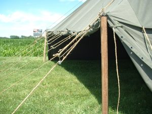 Armbruster's World War II (WWII) 1934 Pyramidal Tent, (Tent, Fire-Resistant, Pyramidal, M-1934, Olive Drab, Stock No. 24-T-320), Detail