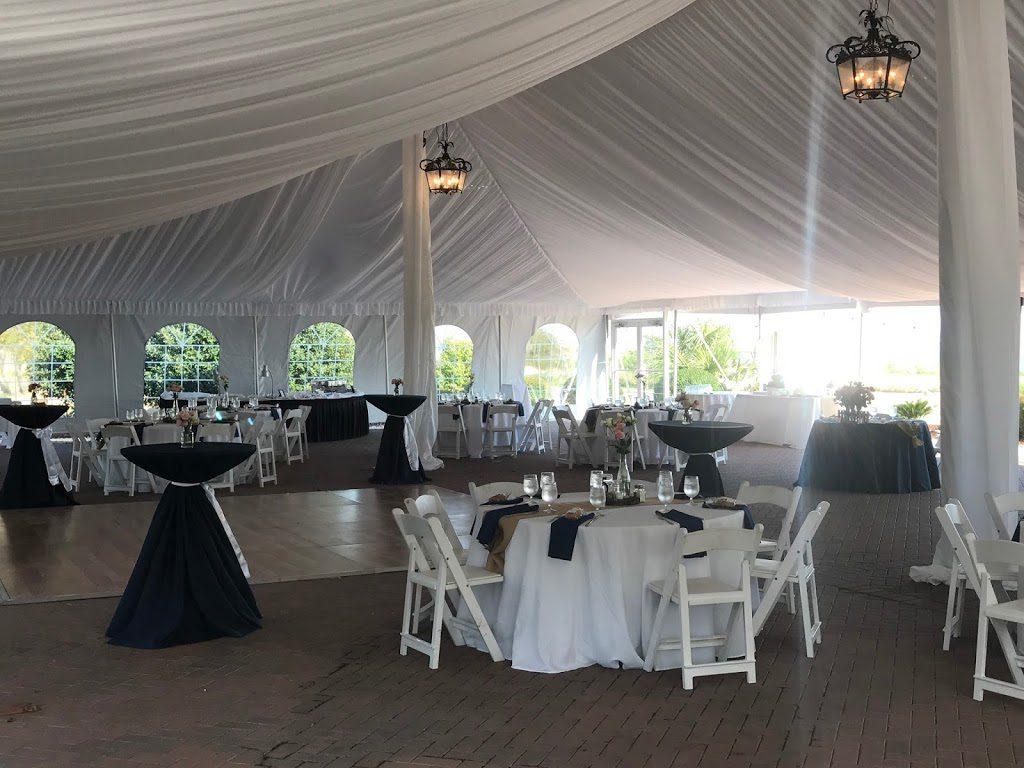 Interior of 50ft x 80ft EuroTent on the South Carolina Coast with Liners and Lighting Set-Up for Wedding