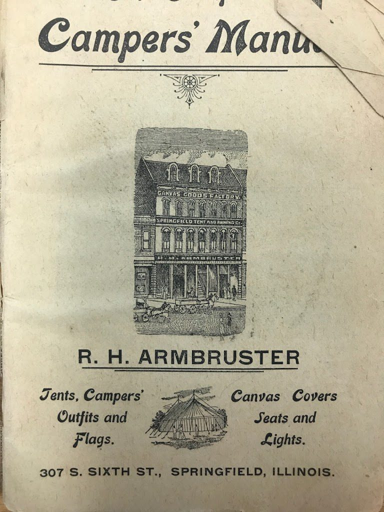 Inside front cover of the Complete Campers Manual, published in 1903 by R.H. Armbruster