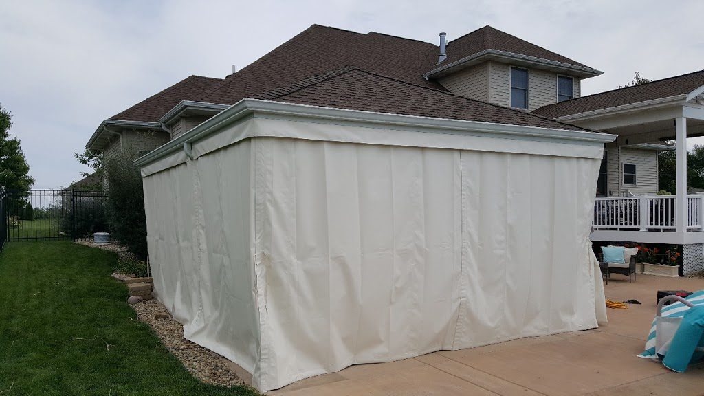 Custom Pool-Side Gazebo Enclosure, Showing Closed Curtains