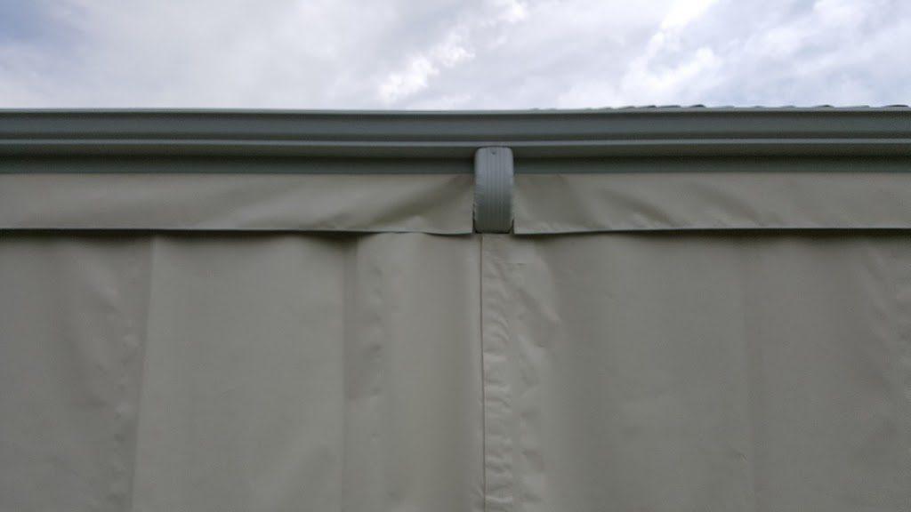 Custom Pool-Side Gazebo Enclosure, detail of rain flap