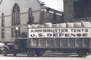 World War II era photo showing Armbruster Tents shipping out to the QM Depots