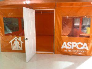 ASPCA office tent exterior door.