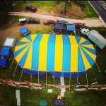Circus Tent, AerialView, Blue and Yellow