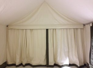 Glamping Tent, Interior Divider Curtains, Green Trim