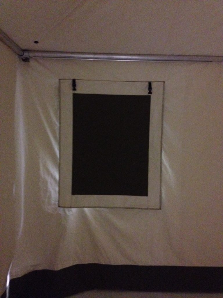 Glamping Tent, Window Detail, Blackout Shade Detail