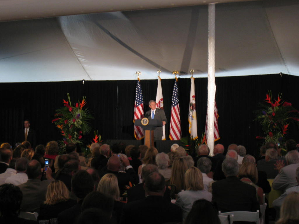 President Bush visits Peoria, July 25, 2008 EuroTent Interior with President Bush