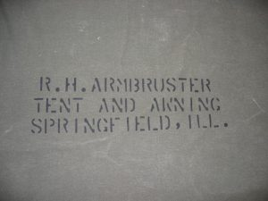 Armbruster World War II Tent Detail. We use our original WWII era stencils as a finishing touch to our historical tents.
