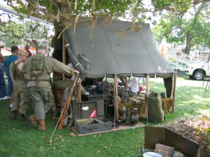 Armbruster World War II Small Wall Tent, display at Illinois State Fair WWII Encampment.