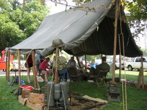 Armbruster World War II Large Wall Tent, display at Illinois State Fair WWII Encampment.
