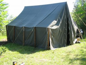 Armbruster World War II Large Wall Tent with sides down.
