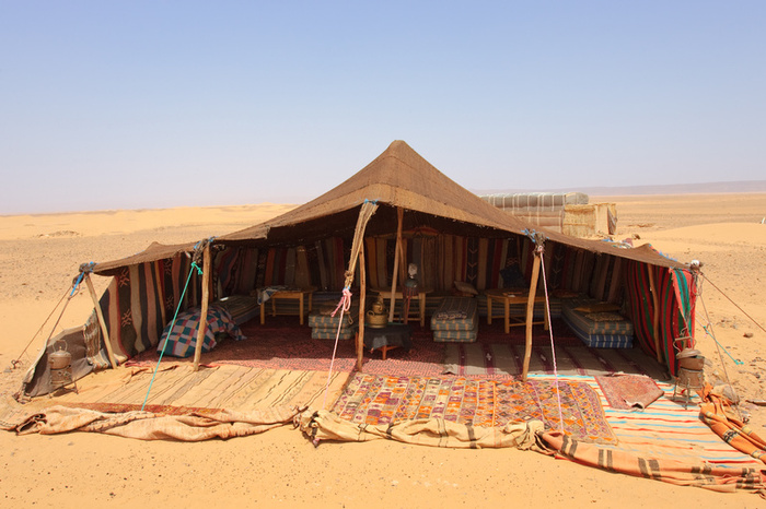 The concept for the Armbruster-made Bedouin tent, drew from photos of Bedouin tents in-use today in North Africa and the Arabian Peninsula.