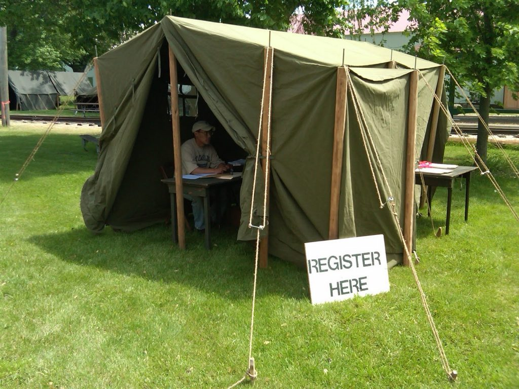 World War II (WWII) Tent ARMBRUSTER DISPLAYS WWII CANVAS TENTS DURING ANZIO EXPRESS 2011 Posted on June 21, 2011in Uncategorized 1942 Command Tent as Registration Tent at Event Wall Tent Small with New OD3 Material Wall Tent Small Perfect for Displays 1942 Command Post tent used by Hosts of Event and HQ Tent at Anzio Express Event