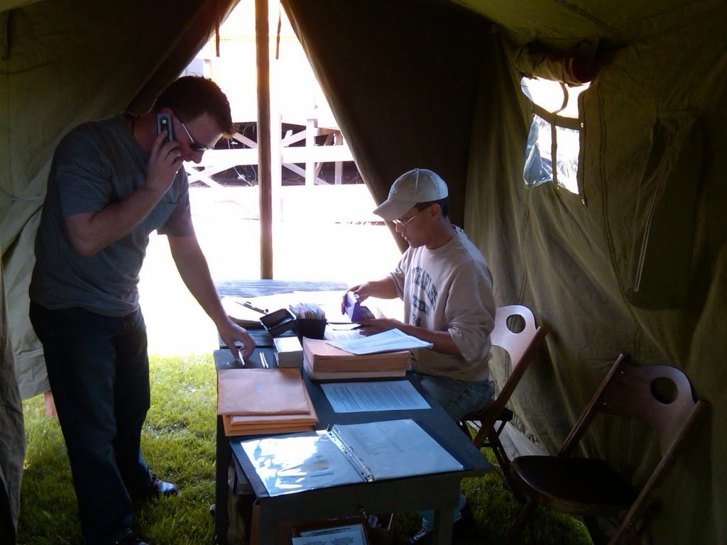 World War II (WWII) 1942 Command Tent as Registration Tent at Event at Anzio Express Event