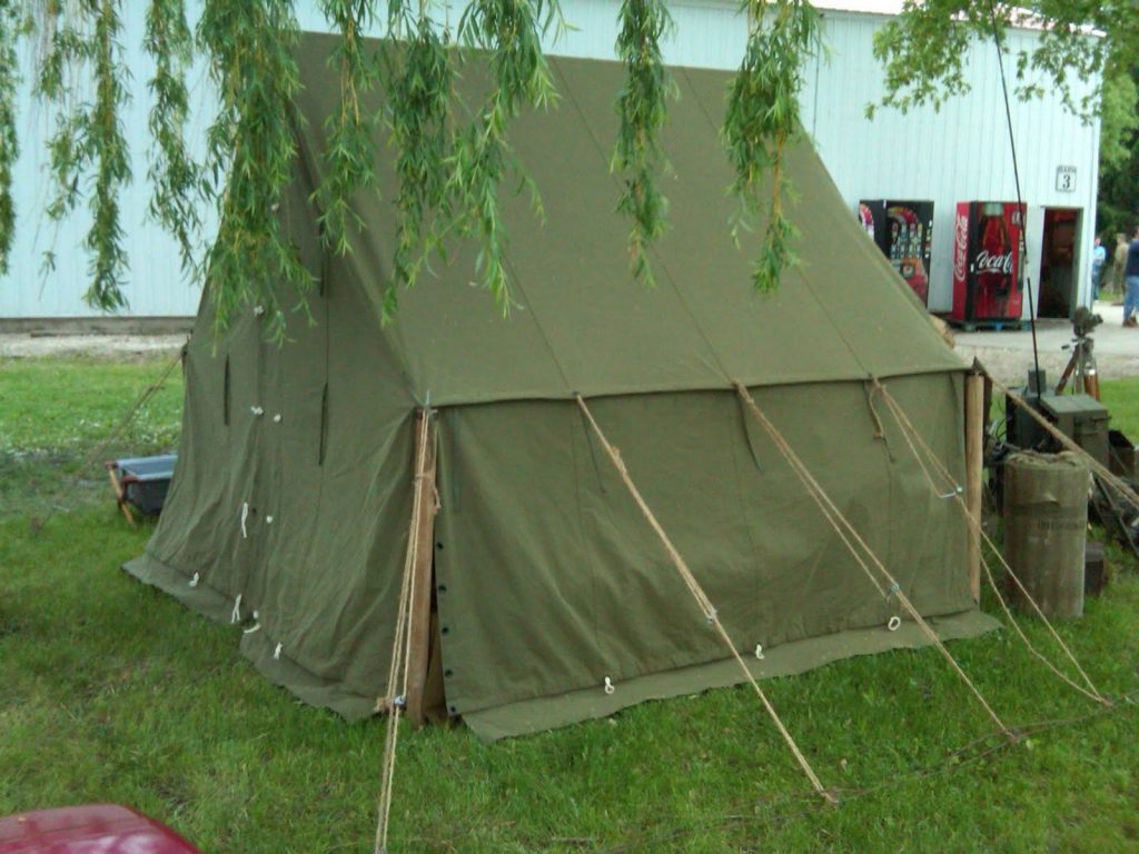 World War II (WWII) Wall Tent Small with New OD3 Material at Anzio Express Event