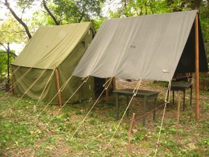 World War II (WWII) Small Wall Tent, OD3 with Small Fly, OD7
