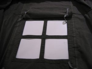 World War II (WWII) Command Post Tent windows with black out flaps
