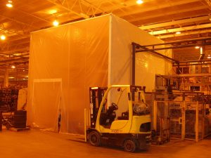 Custom manufacturing enclosure: enclosure for sand blasting and containing dust with access panel