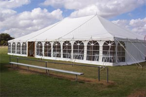 40' Pole Tent at Blue Lake Hire in Naracoorte, Australia, shown with cathedral windows at 6'8″ spacing