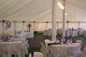 40' Pole Tent at Blue Lake Hire in Naracoorte, Australia, with interior liner to add elegance